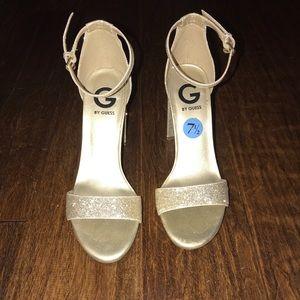 Guess gold glitter heels